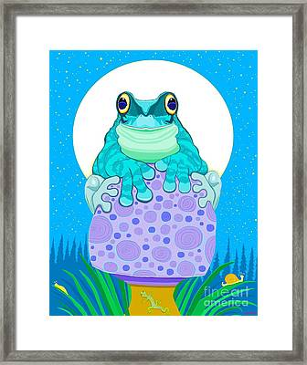 Framed Print featuring the digital art Full Moon Froggy  by Nick Gustafson