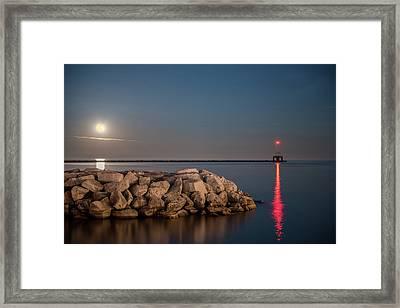 Full Moon In Port Framed Print