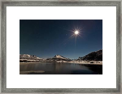 Full Moon In The Arctic Framed Print by Frank Olsen