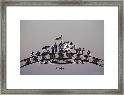 Full Moon In The Boardwalk Arch Ferris Wheel Framed Print