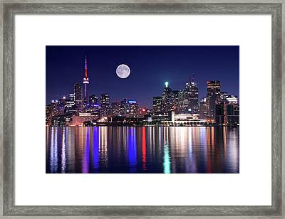 Full Moon In Toronto Framed Print