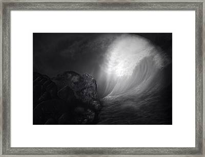 Full Moon On The Reef Black And White Pa Framed Print by Thomas Woolworth