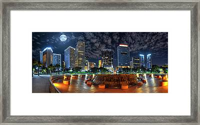 Full Moon Over Bayfront Park In Downtown Miami Framed Print