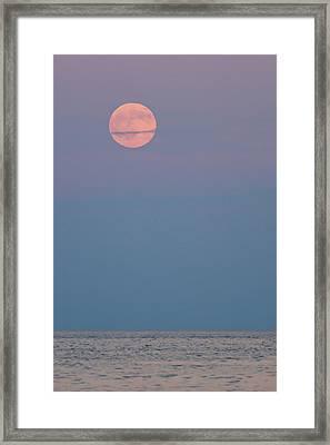 Full Moon Over Calm Sea Lavallette Nj Framed Print