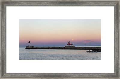 Full Moon Over Canal Park Framed Print by Penny Meyers