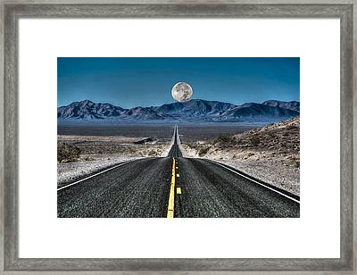 Framed Print featuring the photograph Full Moon Over Death Valley by Donna Kennedy