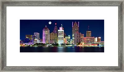 Full Moon Over Detroit Framed Print by Frozen in Time Fine Art Photography