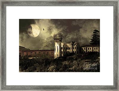 Full Moon Over Hard Time San Quentin California State Prison 7d18546 V2 Sepia Framed Print by Wingsdomain Art and Photography