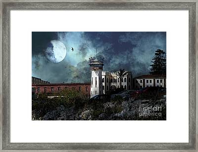 Full Moon Over Hard Time San Quentin California State Prison 7d18546 V2 Framed Print by Wingsdomain Art and Photography