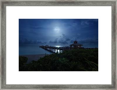 Full Moon Over Juno Beach Pier Framed Print