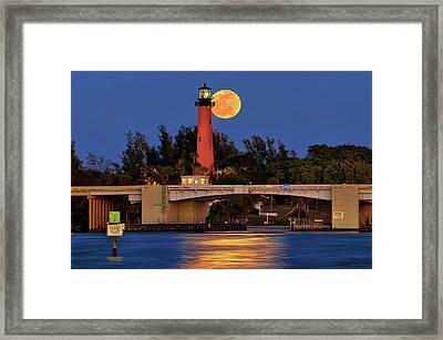 Full Moon Over Jupiter Lighthouse, Florida Framed Print