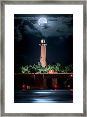 Full Moon Over Jupiter Lighthouse On Christmas Night 2015 Framed Print