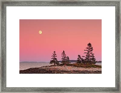 Framed Print featuring the photograph Full Moon Over Maine  by Emmanuel Panagiotakis