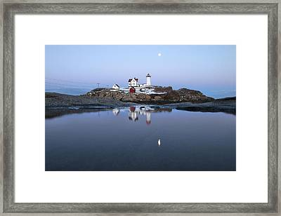 Full Moon Over Nubble Lighthouse Framed Print by Eric Gendron