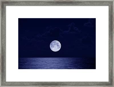 Full Moon Over Ocean, Night Framed Print by Buena Vista Images