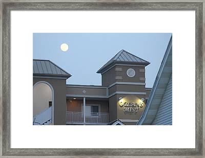 Full Moon Over Oceans Mist Framed Print by Robert Banach