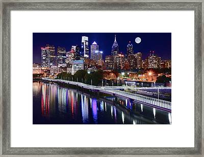 Full Moon Over Philly Framed Print