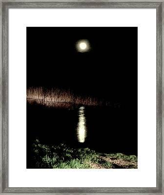Full Moon Over Piermont Creek Framed Print