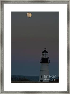 Full Moon Over Portland Headlight. Framed Print by David Bishop