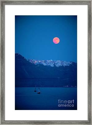 Full Moon Over Santorini Framed Print by Brian Jannsen