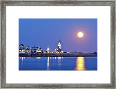 Full Moon Over Scituate Light Framed Print by Susan Cole Kelly