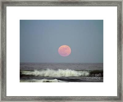 Full Moon Over The Atlantic Framed Print by D Hackett