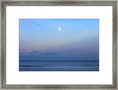 Full Moon Over The Atlantic Ocean In Rye, New Hampshire Framed Print by Anita Hiltz