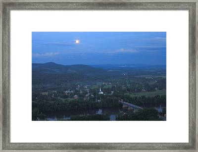 Full Moon Over The Connecticut River Valley Framed Print
