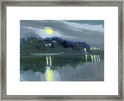 Full Moon Over The Harbor Framed Print
