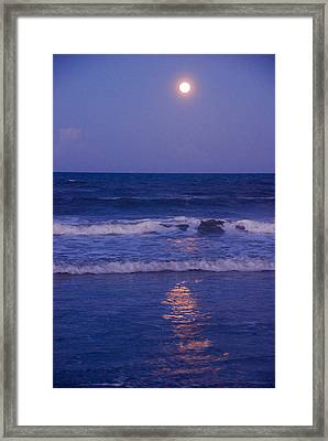 Full Moon Over The Ocean Framed Print