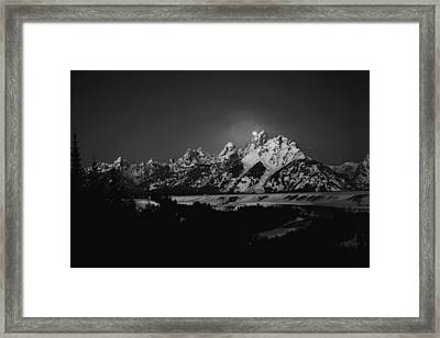 Full Moon Sets In The Tetons Framed Print by Raymond Salani III