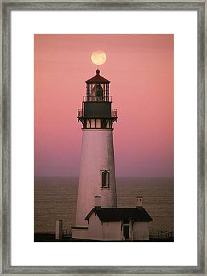 Full Moon Over Yaquina Head Light Framed Print by Natural Selection Craig Tuttle