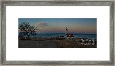 Full Moon Panorama Over Portland Headlight Framed Print by David Bishop