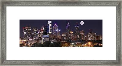 Full Moon Philly Panorama Framed Print by Frozen in Time Fine Art Photography
