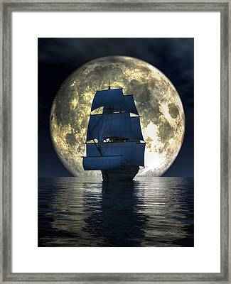 Full Moon Pirates Framed Print by Daniel Eskridge