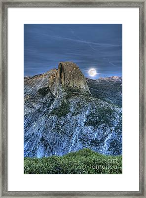 Full Moon Rising Behind Half Dome Framed Print