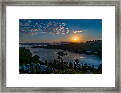 Full Moon Rising On Emerald Bay Framed Print by Mike Ronnebeck