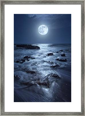 Full Moon Rising Over Coral Cove Beach In Jupiter, Florida Framed Print