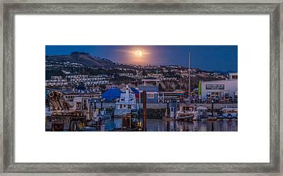 Full Moon Rising Over Dana Point Jet Ski Rental Framed Print by Scott Campbell
