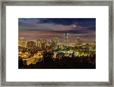 Full Moon Rising Over Downtown Portland Framed Print