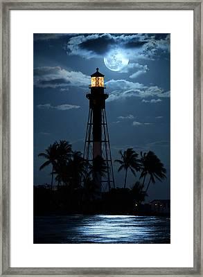 Full Moon Rising Over Hillsboro Lighthouse In Pompano Beach Florida Framed Print