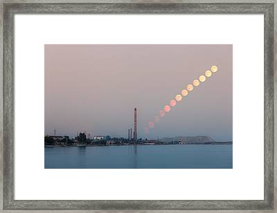 Full Moon Rising Over Industrial Landscape Framed Print