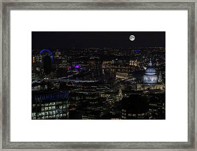 Full Color Moon Rising Over London Skyline  Framed Print