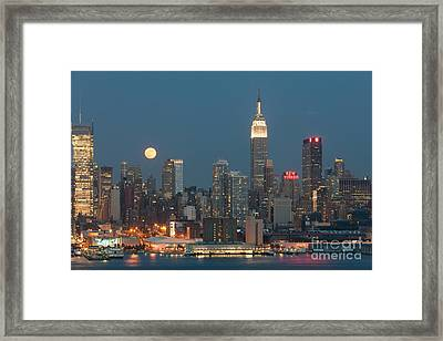 Full Moon Rising Over New York City II Framed Print by Clarence Holmes