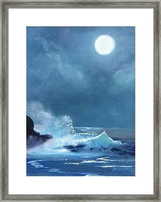 Full Moon Seascape Framed Print