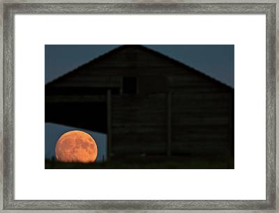 Full Moon Seen Through Old Building Window Framed Print