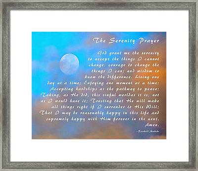 Full Moon Serenity Prayer Digital Framed Print by Floyd Snyder