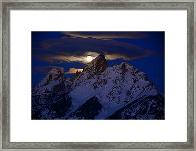 Full Moon Sets Over The Grand Teton Framed Print by Raymond Salani III