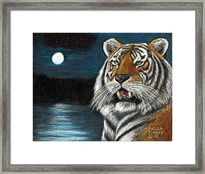 Full Moon Tiger Framed Print by Angela Finney