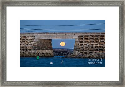 Full Moon Under The Cribstone Bridge Framed Print by Benjamin Williamson